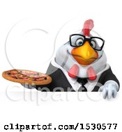 3d Chubby White Business Chicken Holding A Pizza On A White Background