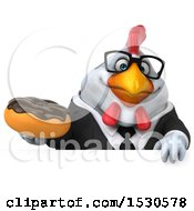 3d Chubby White Business Chicken Holding A Donut On A White Background