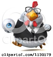 3d Chubby White Business Chicken Holding An Eye On A White Background