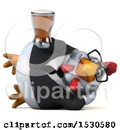 3d Chubby White Business Chicken Holding A Beer On A White Background