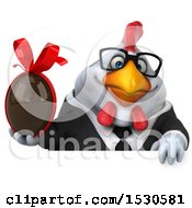 3d Chubby White Business Chicken Holding A Chocolate Egg On A White Background