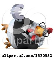 3d Chubby White Business Chicken Holding A Euro On A White Background