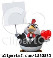 3d Chubby White Business Chicken Holding A Heart On A White Background