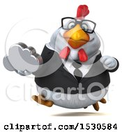3d Chubby White Business Chicken Holding A Cloud On A White Background