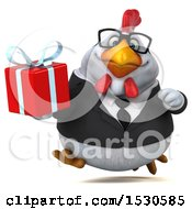 3d Chubby White Business Chicken Holding A Gift On A White Background