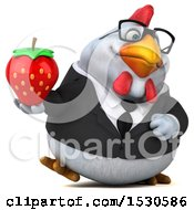 3d Chubby White Business Chicken Holding A Strawberry On A White Background