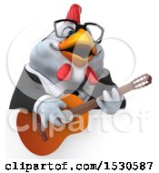 3d Chubby White Business Chicken Holding A Guitar On A White Background