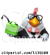 3d Chubby White Business Chicken Holding A Gas Can On A White Background