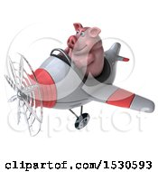 3d Chubby Pig Flying A Plane On A White Background
