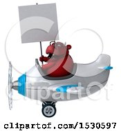 3d Red Bull Flying A Plane On A White Background