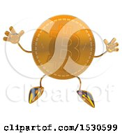 Bitcoin Mascot Jumping On A White Background