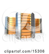 Three Orange Towers Of Server Racks