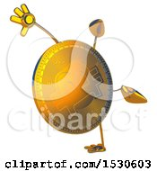 Bitcoin Mascot Doing A Cartwheel On A White Background