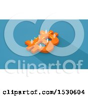 3d Orange Bitcoin Currency Symbol With White People And Coins On Blue