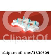 Clipart Of A 3d Bitcoin Currency Symbol With Blue People And Coins On Red Royalty Free Illustration by Julos