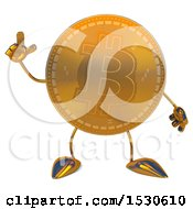 Clipart Of A Bitcoin Mascot Holding Up A Finger On A White Background Royalty Free Illustration by Julos