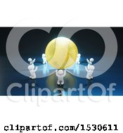 Clipart Of A 3d Bitcoin With A Circle Of Bowing White People On Blue Royalty Free Illustration by Julos