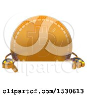 Clipart Of A Bitcoin Mascot Over A Sign On A White Background Royalty Free Illustration by Julos