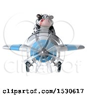 3d Holstein Cow Flying A Plane On A White Background