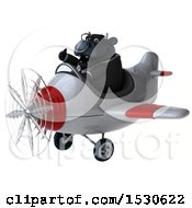 3d Black Business Bull Flying A Plane On A White Background