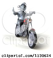 3d Armored Knight Riding A Chopper Motorcycle On A White Background