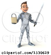 3d Caucasian Male Armored Knight Holding A Padlock On A White Background