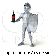 3d Armored Knight Holding Wine On A White Background