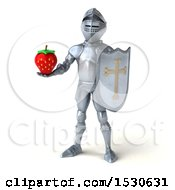 3d Armored Knight Holding A Strawberry On A White Background