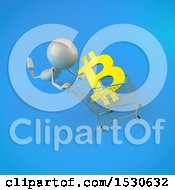 Poster, Art Print Of 3d White Man Pushing A Shopping Cart With A Bitcoin Currency Symbol On A Blue Background