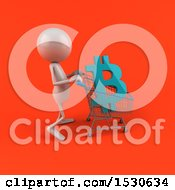 Poster, Art Print Of 3d White Man Pushing A Shopping Cart With A Bitcoin Currency Symbol On A Red Background
