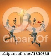 Poster, Art Print Of 3d Bitcoin Currency Symbol With Soldiers On Orange