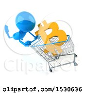 Poster, Art Print Of 3d Blue Man Pushing A Shopping Cart With A Bitcoin Currency Symbol On A White Background