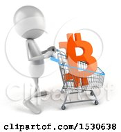 Clipart Of A 3d White Man Pushing A Shopping Cart With A Bitcoin Currency Symbol On A White Background Royalty Free Illustration by Julos