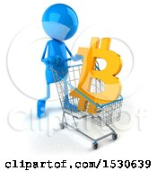 Clipart Of A 3d Blue Man Pushing A Shopping Cart With A Bitcoin Currency Symbol On A White Background Royalty Free Illustration by Julos