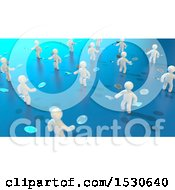 Clipart Of A 3d Group Of White People Tossing Bitcoins On Blue Royalty Free Illustration by Julos