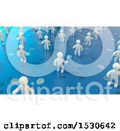 Poster, Art Print Of 3d Group Of White People Tossing Bitcoins On Blue
