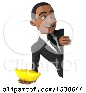 3d Young Black Business Man Holding A Banana On A White Background