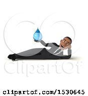 3d Young Black Business Man Holding A Water Drop On A White Background