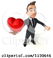 3d White Business Man Holding A Heart On A White Background