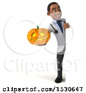 3d Young Black Male Doctor Holding A Halloween Jackolantern Pumpkin On A White Background
