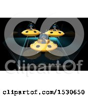 Poster, Art Print Of 3d Smart Phone With Aliens Flying Ufos And Emerging From The Screen