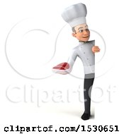 3d Young White Male Chef Holding A Steak On A White Background