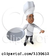3d Young Black Male Chef Holding A Plate On A White Background