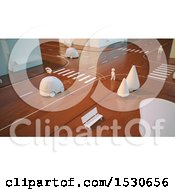 Poster, Art Print Of 3d Wooden City Road Intersection With Cars