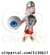 Poster, Art Print Of 3d Young Male Roman Legionary Soldier Holding An Eye On A White Background