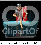 3d Male Roman Legionary Soldier Running And Emerging Form A Smart Phone Screen On A Black Background