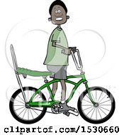 Clipart Of A Happy Black Boy Riding A Stingray Bicycle Royalty Free Vector Illustration