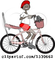 Clipart Of A Happy Black Girl Riding A Stingray Bicycle Royalty Free Vector Illustration