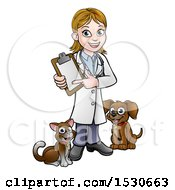 White Female Veterinarian Holding A Clipboard And Standing With A Cat And Dog