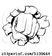 Clipart Of A Black And White Fisted Hand Punching A Hole Through A Wall Royalty Free Vector Illustration